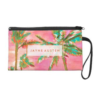 PixDezines Vintage Hawaiian Beach/Pink/Teal Wristlet