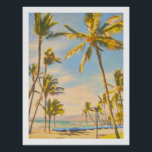 "PixDezines vintage hawaiian beach Poster<br><div class=""desc"">PixDezines Vintage Hawaiian Beach,  Mauna Lani Bay Waikoloa Beach,  Big Island,  Hawaii.com.  All rights reserved.</div>"