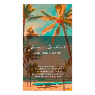 PixDezines Vintage Hawaiian Beach Scene Double-Sided Standard Business Cards (Pack Of 100)