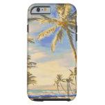 PixDezines Vintage Hawaiian Beach Scene/cobalt Tough iPhone 6 Case