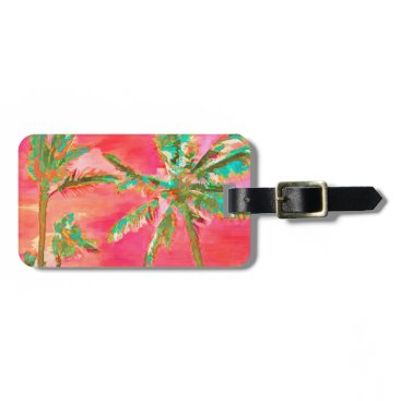 Beach Themed PixDezines vintage hawaiian beach scene/coral Luggage Tag