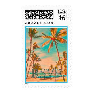 PixDezines Vintage Hawaiian Beach Scene DIY text Postage