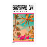 PixDezines Vintage Hawaiian Beach Scene/DIY text Postage