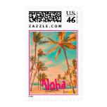 PixDezines Vintage Hawaiian Beach Scene/DIY text Postage Stamp