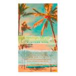 PixDezines vintage hawaiian beach scene/teal Business Card Templates