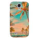 PixDezines Vintage Hawaiian Beach Scene/teal Samsung Galaxy S4 Covers