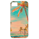 PixDezines Vintage Hawaiian Beach Scene/teal iPhone 5 Cover