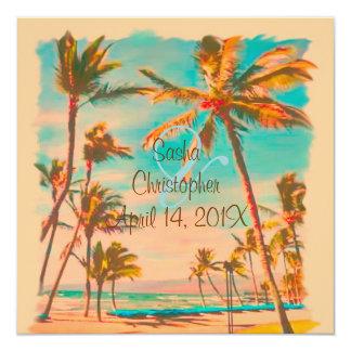 PixDezines vintage hawaiian beach/teal Personalized Invites