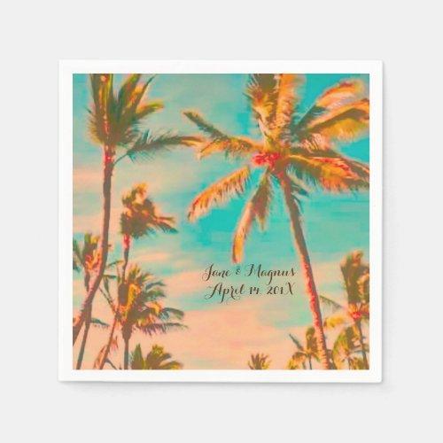 PixDezines Vintage Hawaiian Beach/Teal Paper Napkin
