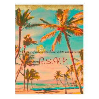 PixDezines Vintage Hawaiian Beach/teal Postcard