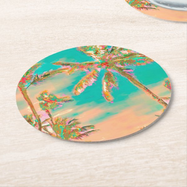 PixDezines Vintage Hawaiian Beach/Teal Round Paper Coaster