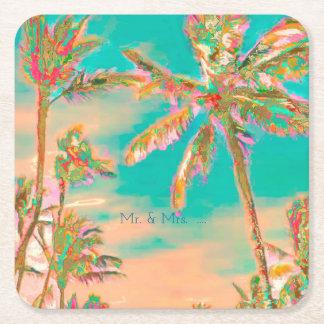 PixDezines Vintage Hawaiian Beach/Teal Square Paper Coaster