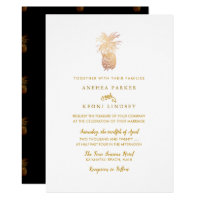 PixDezines Vintage Hawaiian Pineapples, Faux Gold Invitation
