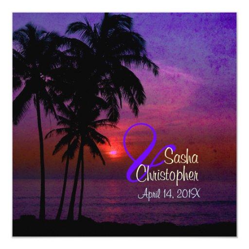 PixDezines vintage hula sunset/luau 5.25x5.25 Square Paper Invitation Card
