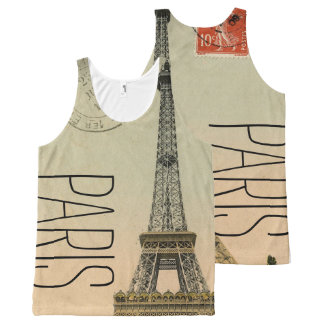 PixDezines vintage la tour eiffel/paris/DIY text All-Over Print Tank Top