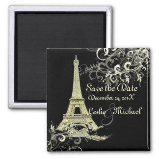 PixDezines Vintage La Tour Eiffel, Save the Date 2 Inch Square Magnet