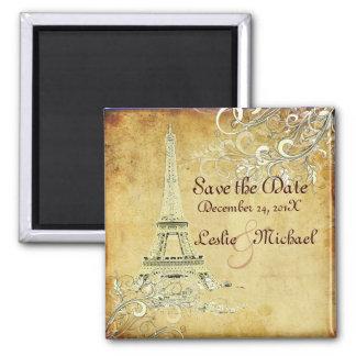 PixDezines Vintage La Tour Eiffel, Save the Date Fridge Magnet