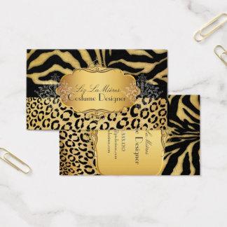 PixDezines VINTAGE LEOPARD+ZEBRA+FAUX+GOLD+LABEL Business Card