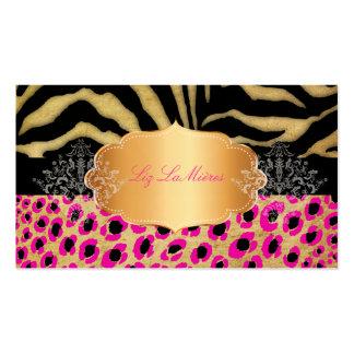 PixDezines Vintage leopard, zebra+gold label Double-Sided Standard Business Cards (Pack Of 100)