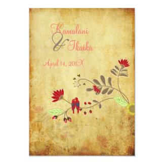 PixDezines Vintage Love birds, faux parchment 5x7 Paper Invitation Card