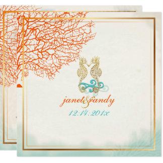 PixDezines vintage maui coral+seahorse, beach Card
