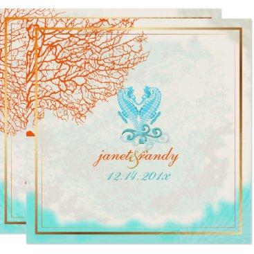 Beach Themed PixDezines vintage maui coral seahorse, beach Card