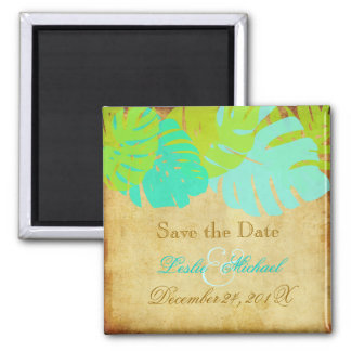 PixDezines Vintage Monstera, Save the Date 2 Inch Square Magnet