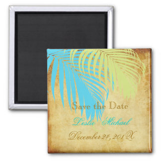 PixDezines Vintage Palm Fronds, Save the Date 2 Inch Square Magnet