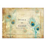 PixDezines vintage peacock feather/DIY colors 5.5x7.5 Paper Invitation Card