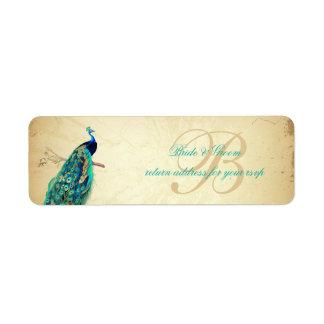 PixDezines Vintage Peacock Illustration Label