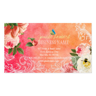 PixDezines vintage peonies/watercolor Double-Sided Standard Business Cards (Pack Of 100)