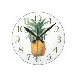 PixDezines Vintage Pineapple/DIY Color/Font Round Clock