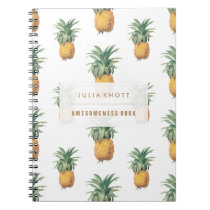 PixDezines Vintage Pineapples/DIY background text Notebook