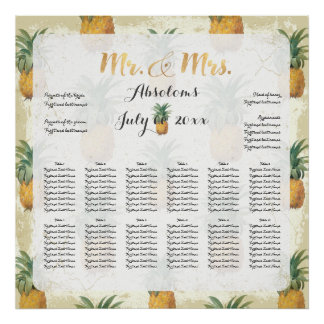 PixDezines Vintage Pineapples Seating Chart Poster