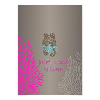 PixDezines Vintage Pink Coral+Seahorse 5x7 Paper Invitation Card