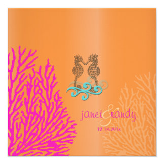 PixDezines Vintage Pink Coral+Seahorse Invitation