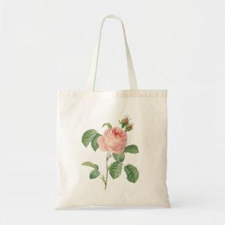 PixDezines Vintage Pink Roses/Redoute Illustration Tote Bag