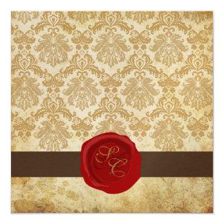 "PixDezines Vintage+Pique Damask+Wax Seal 5.25"" Square Invitation Card"