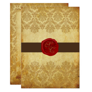 PixDezines Vintage+Pique Lace Damask+Wax Seal Card