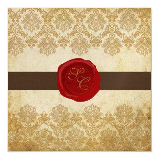 """PixDezines Vintage+Pique Lace Damask+Wax Seal 5.25"""" Square Invitation Card"""