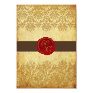 """PixDezines Vintage+Pique Lace Damask+Wax Seal 5"""" X 7"""" Invitation Card"""