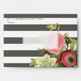 PixDezines Vintage Roses/DIY color-adj. stripes Envelope