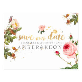 PixDezines vintage roses/floral/save the date Postcard