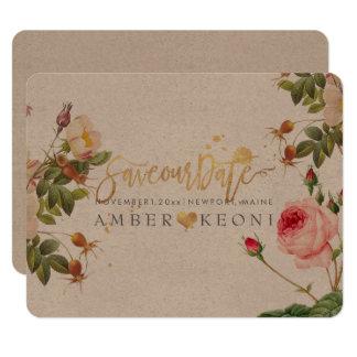 PixDezines vintage roses/save our date/script font Card