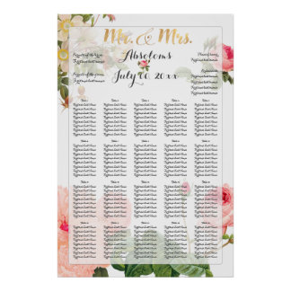 PixDezines Vintage Roses Seating Chart Poster
