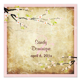 PixDezines Vintage Sakura Personalized Invitation