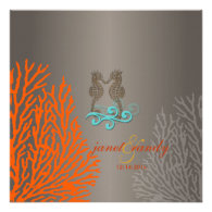 PixDezines Vintage Seahorse coral Custom Invites