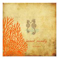 PixDezines Vintage Seahorse coral Personalized Announcements