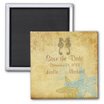 PixDezines Vintage seahorse+starfish/Save the Date 2 Inch Square Magnet