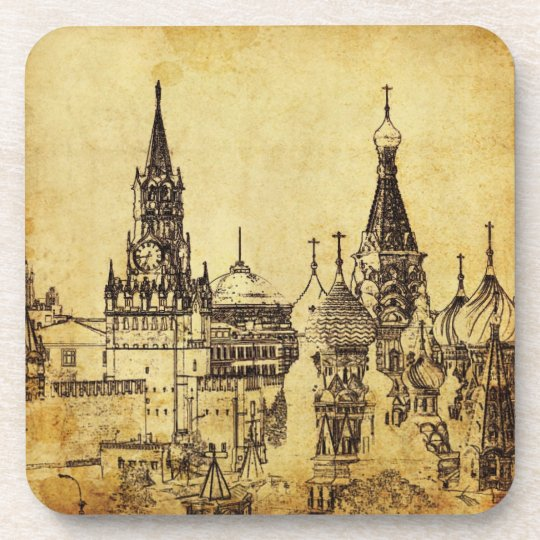 PixDezines vintage St. Petersburg/Kremlin square Beverage Coaster